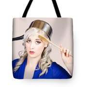 Funny Pin Up Housewife Saluting For Cooking Duties Tote Bag