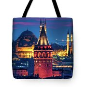 Galata Tower And Suleymaniye Mosque Tote Bag