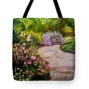 Path To The Garden Bench At Evergreen Arboretum Tote Bag by J Reynolds Dail