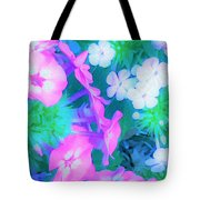 Garden Flowers In Pink, Green And Blue Tote Bag