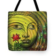 Gautama Buddha Ripple Effect Portrait Tote Bag