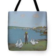 Geese By The River Loing 02 Tote Bag