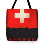 Geneva Switzerland World City Flag Skyline Tote Bag