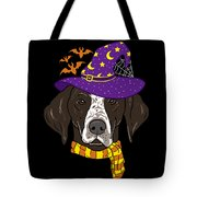German Shorthair Halloween Witch Hat Flying Bats Tote Bag