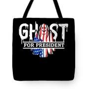 Ghost Elected Cute Halloween Spirit In American Flag Dark Tote Bag