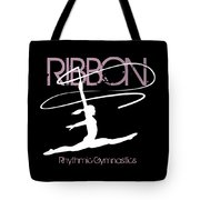 Girl Competing In Female Rhythmic Gymnastics Jumping With A Ribbon Tote Bag