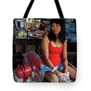 Girl In A Shop Tote Bag by Jeremy Holton