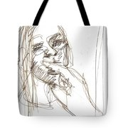 Girl Portrait Drawing Tote Bag