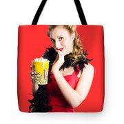 Glamorous Woman Holding Popcorn Tote Bag