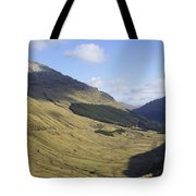glen in highlands known as  the Rest and be Thankful Tote Bag