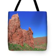 Glowing Red Rocks In The Teide National Park Tote Bag