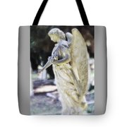 Golden Angel With Pink Rose Tote Bag