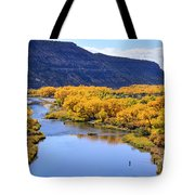 Golden Autumn Trees San Juan River Landscape Tote Bag