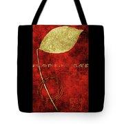 Golden Leaf On Bright Red Paper Tote Bag