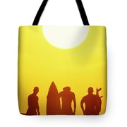 Golden Surf Silhouettes Tote Bag