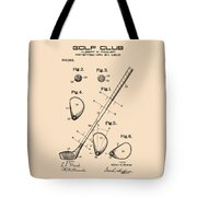Golf Club Patent Drawing From 1910 On Vintage Background Tote Bag by David Millenheft