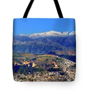 Granada, The Alhambra And Sierra Nevada From The Air Tote Bag