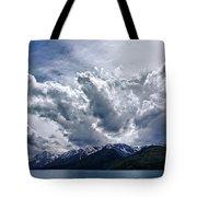Grand Teton Mountains And Clouds Tote Bag