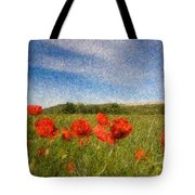 Grassland And Red Poppy Flowers 3 Tote Bag
