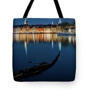 Gray Wolf Shipwreck And Stockholm Gamla Stan Fantastic Reflection In The Baltic Sea  Tote Bag