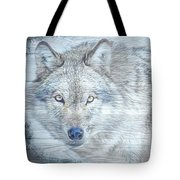 Gray Wolf Stare Tote Bag by Debra and Dave Vanderlaan