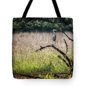 Great Blue Heron On A Snag Tote Bag