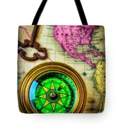 Green Compass And Old Key Tote Bag
