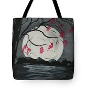 Grey Moon With Red Flowers Tote Bag