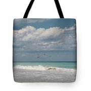 Group Of Pelicans Above The Ocean Tote Bag