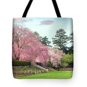 Weeping Cherry And Tulips Tote Bag