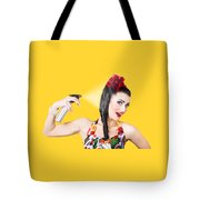 Haircare. Brunette Pinup Woman Using Hair Product Tote Bag