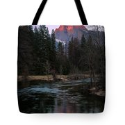 Half Dome Reflection Over Merced River At Sunset, Yosemite National Park  Tote Bag