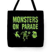 Halloween Shirt Monsters On Parade Green Gift Tee Tote Bag