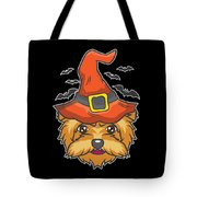 Halloween Shirt Witch Yorkshire Dog Costume Gift  Tote Bag