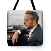 Hand Colored Picture Of Paul Newman Tote Bag