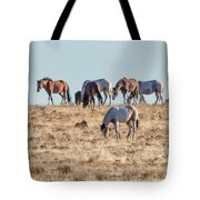 Hanging With Family And Friends - South Steens Wild Horses Tote Bag by Belinda Greb