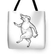 Happy Pig Dancing Drawing Retro Black And White Tote Bag