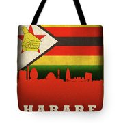 Harare Zimbabwe World City Flag Skyline Tote Bag