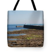harbour at Seahouses on hazy summer day Tote Bag
