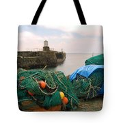 harbour pier and fishings nets at Pittenweem, Fife Tote Bag