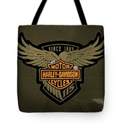 Harley Davidson Old Vintage Logo Fuel Tank Motorcycle Brown Background Tote Bag