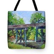 Harrison Park Bridge-ellijay River - Sun Peeking Under Tote Bag