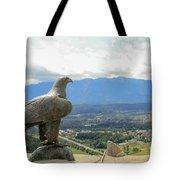 Hawk Overseeing Village. Tote Bag