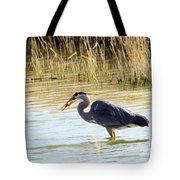 Heron Capturing A Fish Tote Bag