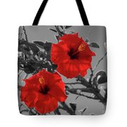 Hibiscus Selective Color Tote Bag
