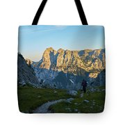 Hiker In The Morning Tote Bag