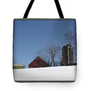 Hill Farm In Snow Tote Bag