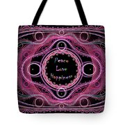 Hippie Lace - Peace, Love, Happiness Tote Bag