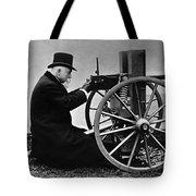 Hiram Maxim Firing His Maxim Machine Gun - 1884 Tote Bag