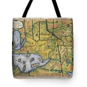 Historical Map Hand Painted Lake Superior Norhern Minnesota Boundary Waters Captain Carver Tote Bag
